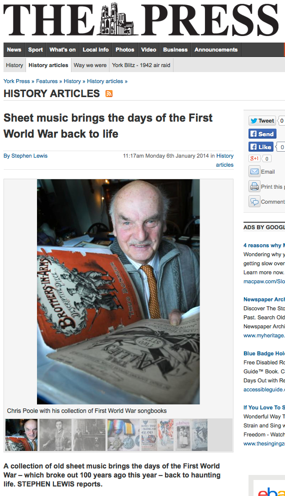 York Press--Sheet music brings the days of the First World War back to life