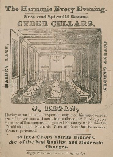 Advert for Cyder Cellars, Maiden Lane, Covent Garden