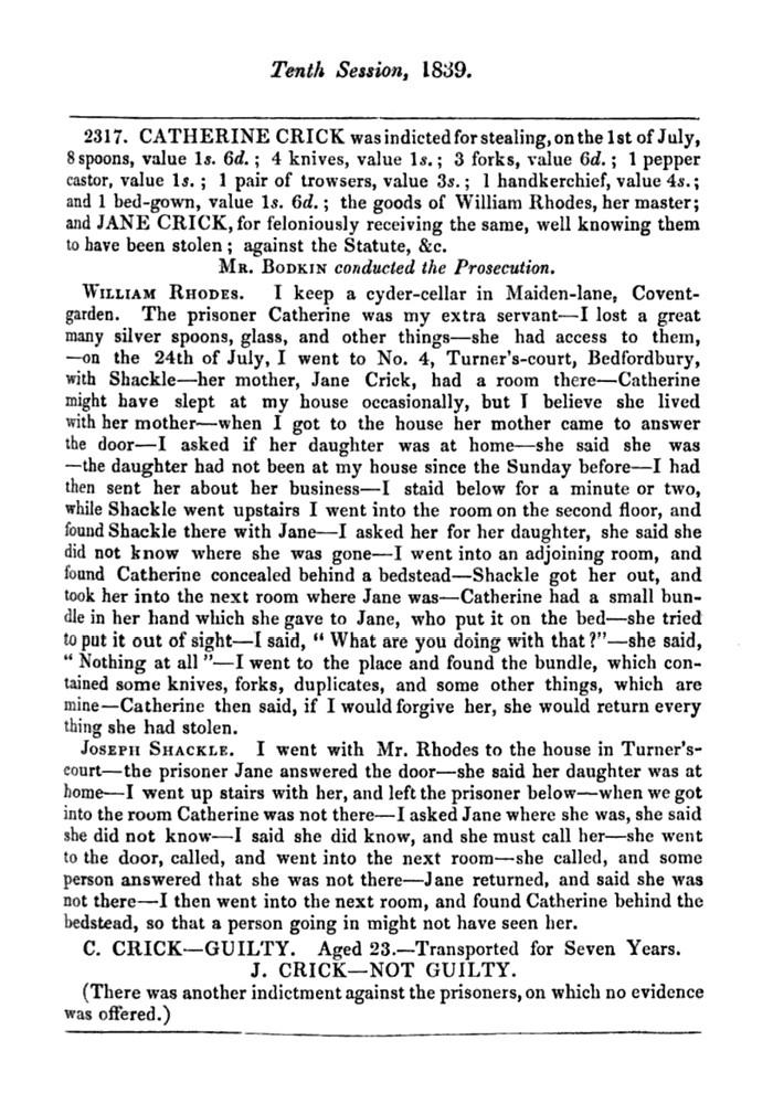[William Rhodes, Cyder Cellars] Central Criminal Court, Minutes of Evidence 1839