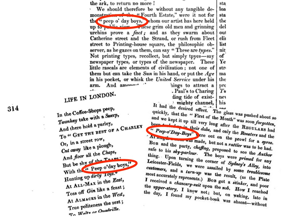 Top: The London Saturday journal, 5 June 1841; bottom left and right: Pierce Egan, Life in London.